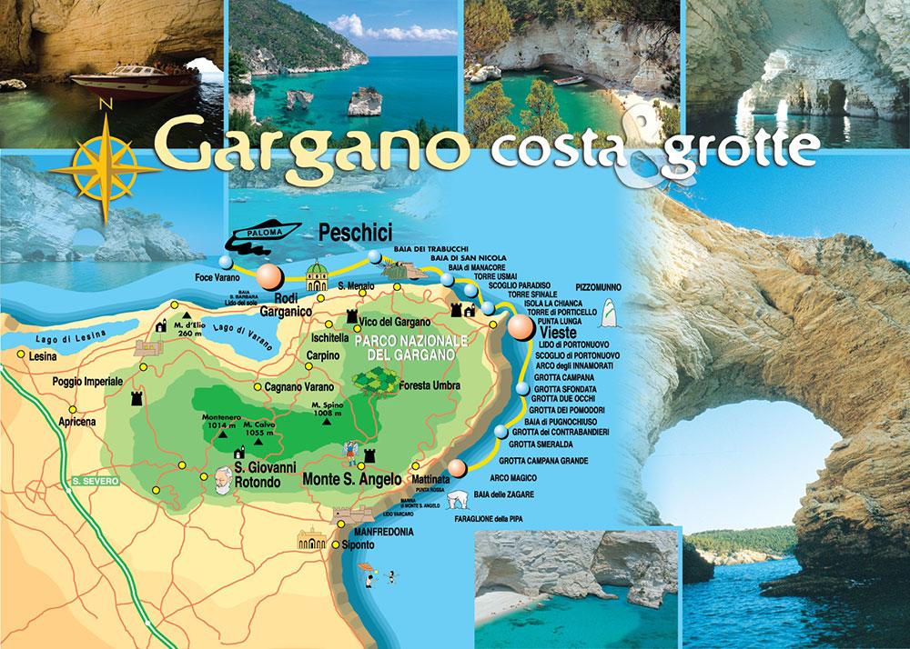 Cartina Puglia Zona Gargano.Mappa Del Gargano Mappa Coste E Grotte Gargano Italia Escursioni